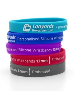 12mm Personalised Silicone Wristbands Custom - Printed Embossed